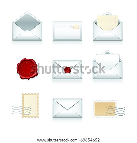 Big set vector e-mail, envelop icons with wax press. - stock vector