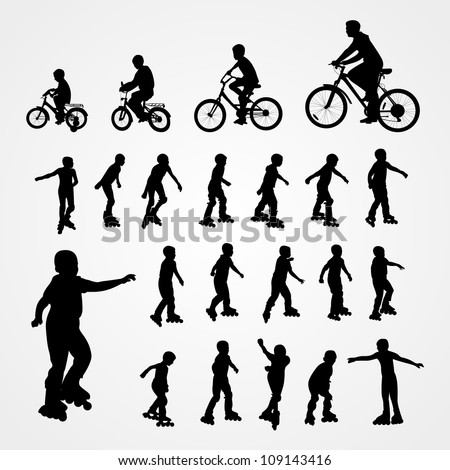 Big set vector silhouette of roller skating and bicyclist