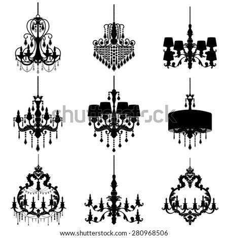 Big set with chandelier silhouette isolated on White background. Vector collection - stock vector