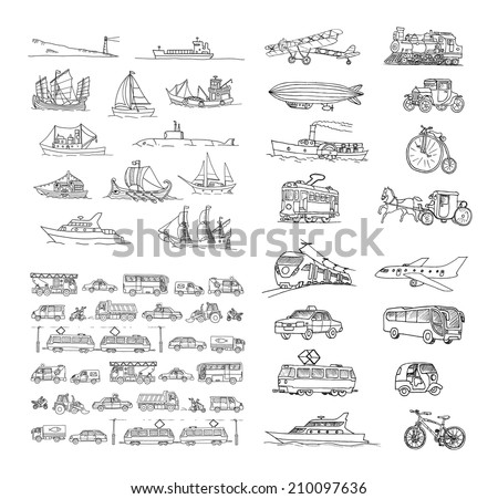 Big set with different transport. Passenger transport. Traffic. Retro transport.  Set with boats.  Isolated  on a white background. - stock vector