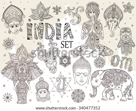 Big set with elements of Indian culture. Gods Ganesha, Navratri, Hanuman. Lord Buddha. Lotus, chakras, yoga posses. Ornamental elephant and mandalas. Hamsa for luck. Medallion, yoga, india, arabic - stock vector