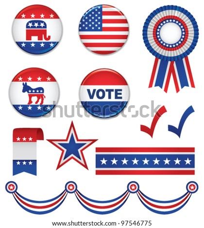 Big set with presidential campaign elements. Vector - stock vector
