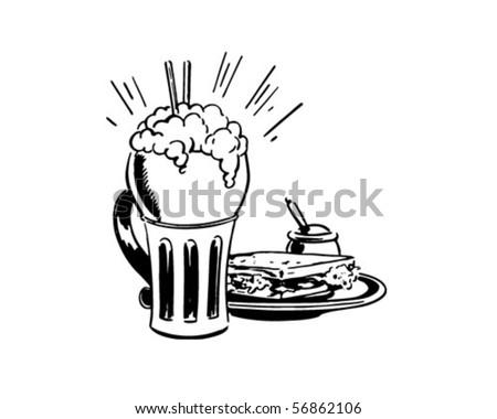 Big Shake And A Sandwich - Retro Clip Art - stock vector
