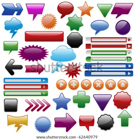 Big shiny web elements collection - stock vector