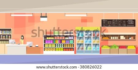 Big Shop Interior, Sales Woman Stand Near Cash Desk Vector Illustration - stock vector