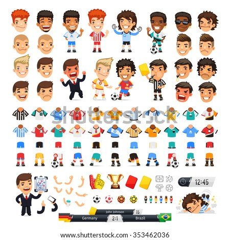 Big soccer set for your design or animation. Cartoon international football players and icons. Isolated on white background. Clipping paths included. - stock vector