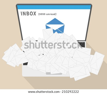 Big spam on email. Alot letters over laptop - stock vector