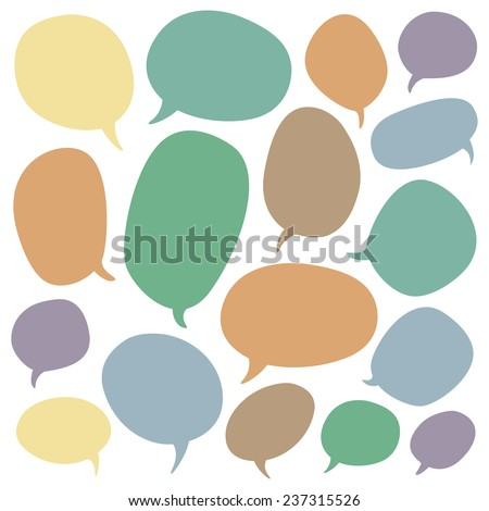 Big speech bubble set. Colorful elements on white background. - stock vector