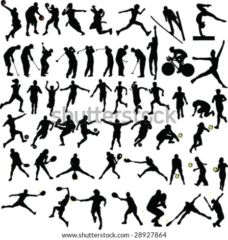 big sport collection silhouette - vector - stock vector