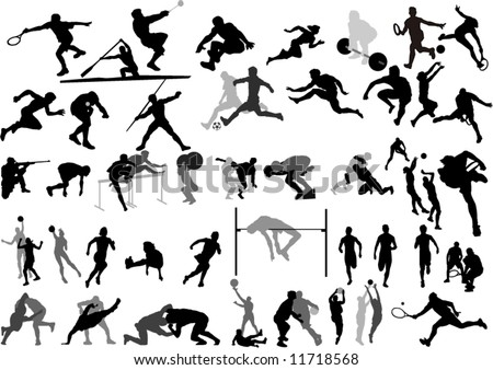 Big Sport collection vector Silhouettes - stock vector