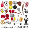 big sports collection (foam finger, boxing gloves, basketball ball, checkered flag, hockey stick, bicycle) - stock vector