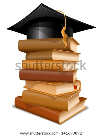 Big stack of books with graduation cap