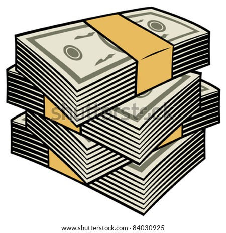 Big stack of money - stock vector