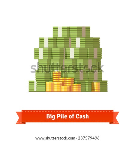 Big stacked pile of cash and some gold coins. Flat style illustration. EPS 10 vector. - stock vector