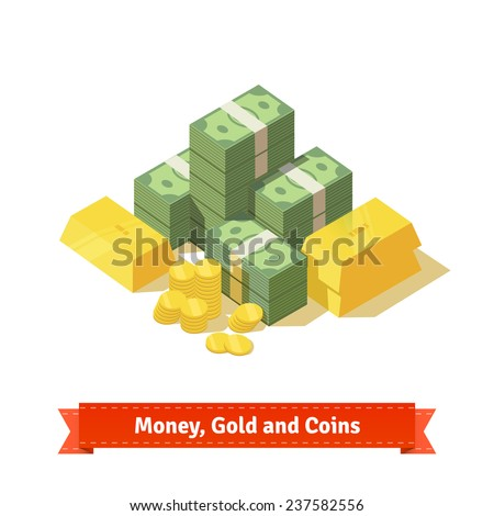 Big stacked pile of cash. Some gold bars and coins. Personal treasure. Flat style isometric illustration. EPS 10 vector. - stock vector