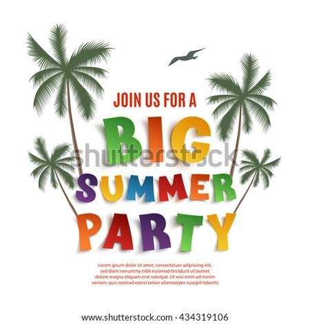 Big summer party poster template isolated on white background with palms and seagull. Vector illustration.