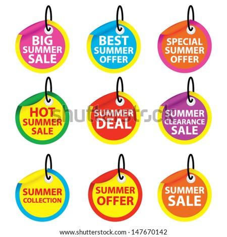 Big summer sale, Best summer offer, Special summer offer, Hot summer sale, Summer deal, Summer clearance sale, Summer collection, Summer offer, Summer sale tags set. Vector - stock vector