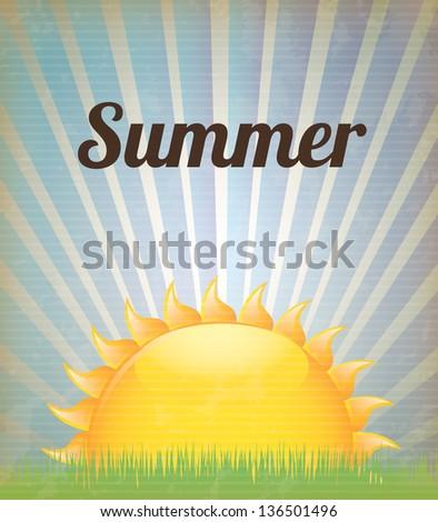 Big sun over vintage background vector illustration - stock vector