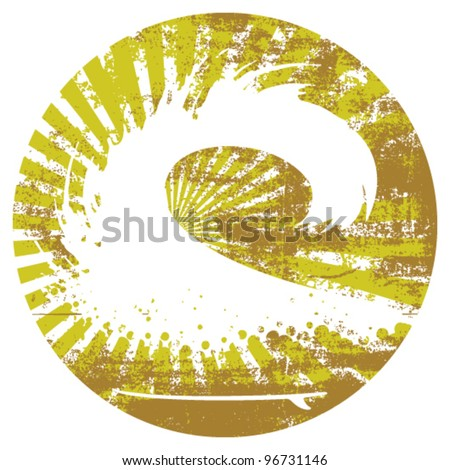 big surf wave with grunge circle background - stock vector