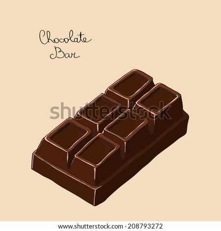 Big sweet chocolate bar. Hand drawn vector illustration. - stock vector