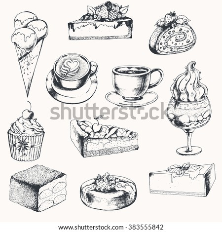Big sweet collection with coffee and desserts. Ink drawn vector illustration. - stock vector