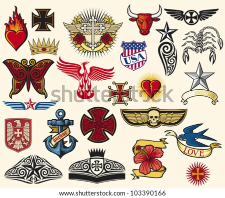 big tattoo collection (tattoo elements, tattoo symbols) - stock vector