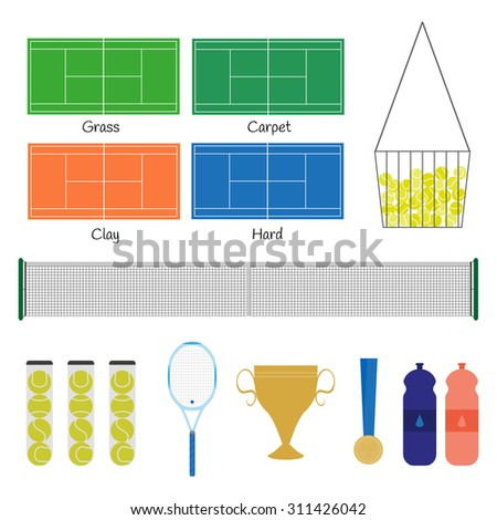 Big tennis items. Tennis racket, balls, court, net, basket, prize cup, medal, bottles with drink water. Popular kinds of field: grass, carpet, clay, hard. Vector illustration. - stock vector