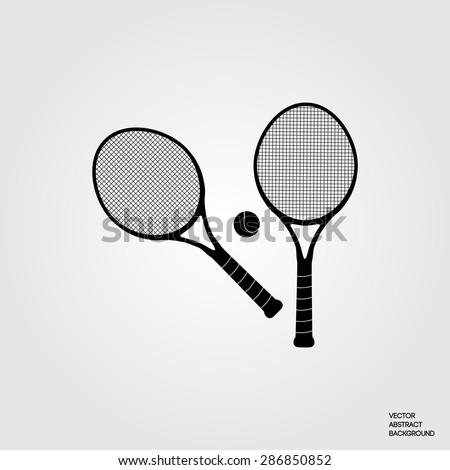 Big tennis. Tennis rackets. Tennis ball. Active sports. Tennis club. Silhouette. metallic background - stock vector