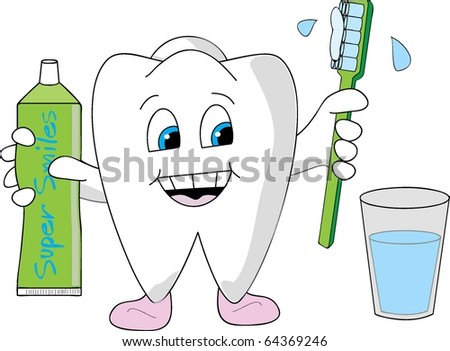 Big tooth with gummy shoes holding a toothbrush and tooth paste - stock vector