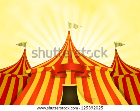 Big Top Circus Background With Banner/ Illustration of cartoon yellow and red big top circus & Big Top Circus Background Banner Illustration Stock Vector ...