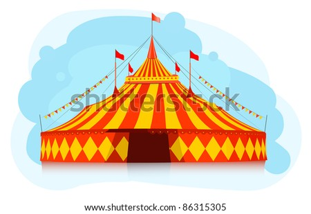 Big top circus tent - stock vector