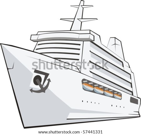 big tourist nave frontal from the side - stock vector