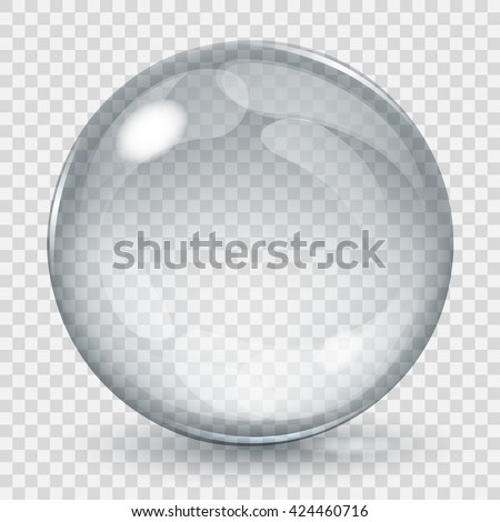 Big transparent glass sphere with glares and shadow. Transparency only in vector file - stock vector