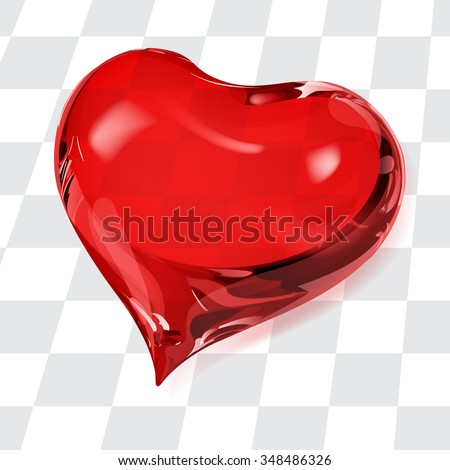 Big transparent heart in red colors - stock vector