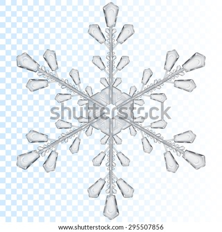 Big transparent snowflake in gray color. Transparency only in vector file - stock vector
