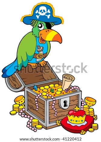 Big treasure chest with pirate parrot - vector illustration. - stock vector