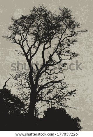 big tree and branches silhouette. detailed vector illustration  - stock vector