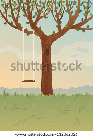 Big tree and swing - stock vector