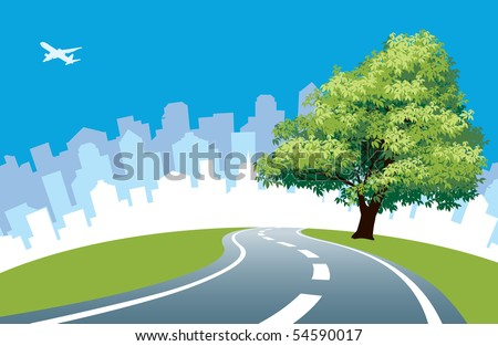 Big tree at the road, cityscape silhouette in the background. - stock vector