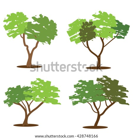 big tree in forest vector