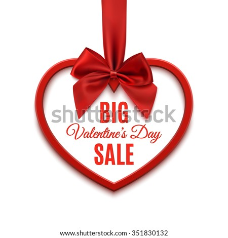 Big Valentines day sale, poster template. Red heart with red ribbon and bow, isolated on white background. Vector illustration. - stock vector