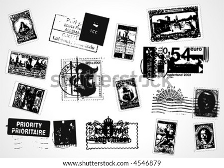 Big-Value Vector stamps Pack - stock vector