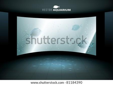 Big Vector aquarium with Fish - stock vector
