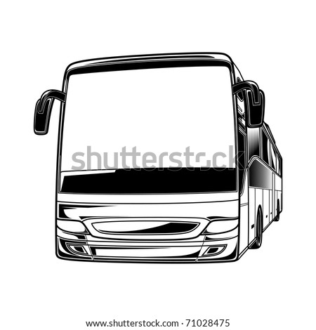 Big vector black and white transport car Bus