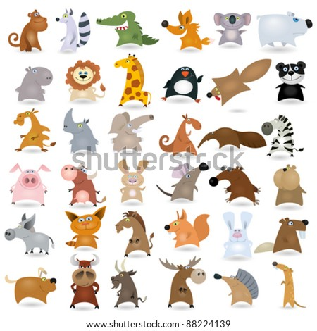 Big vector cartoon animal set #2 - stock vector