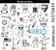 big vector set - doodle - space - stock vector