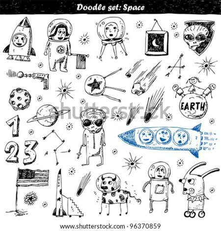 big vector set - doodle - space - stock vector