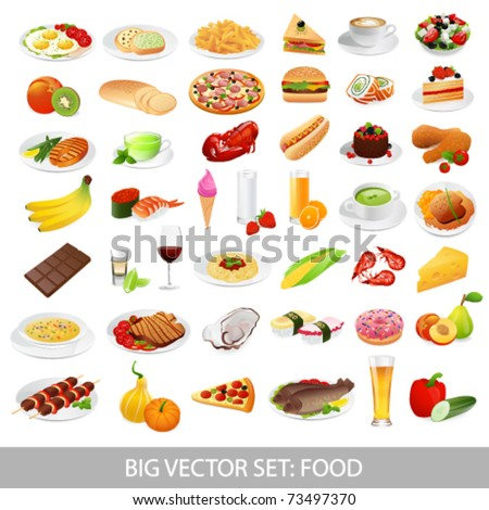 Big vector set: food (various  delicious  dishes) - detailed illustrations