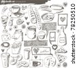 big vector set : kitchen - food - stock vector