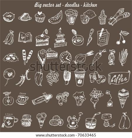 big vector set : kitchen - food - stock vector